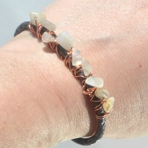 Genuine Moonstone Pure Copper Bangle Cuff Bracelet